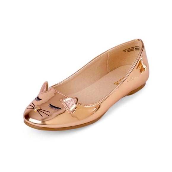 Children's Place Rose Gold Embroidered Cat Ballet